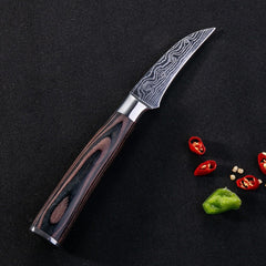 "3.5""inch Peeling  knife super sharp Japanese Wood Handle kitchen Damascus Utility knives Color wood handle Fish knife gift - Slabiti"