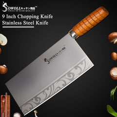 "9"" inch Stainless Steel Kitchen Knife Quality Chopping Knife For Cleaver Cooking Tool Best Gift Wood Handle Chef Knife - Slabiti"