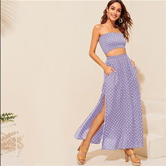 SHEIN Boho Polka Dot Shirred Bandeau Top And Maxi Skirt Set Women Summer HighStreet Black Crop Bandrau Maxi Skirt Twopiece - Slabiti