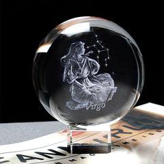 60 MM 3D Zodiac Sign Star Crystal Ball Laser Engraved Glass Sphere Crystal Craft Home Decor Birthday Gift Ornament - Slabiti