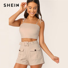 SHEIN Tie Strap Top And Adjustable Belted Shorts Set Sexy Khaki Solid Spaghetti Strap Summer Sleeveless Women 2 Piece Sets - Slabiti