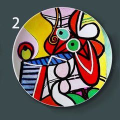 New Spanish Picasso Painting Plates for Home Wall Decor Abstract Watercolor Desk Display Ceramic Craft Round Colorful Plate - Slabiti