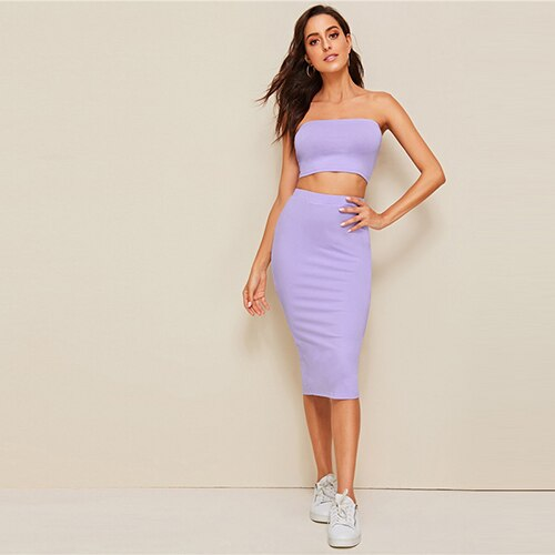 SHEIN Crop Bandeau Top And Split Pencil Skirt Set 2019 Purple Solid Strapless Sleeveless Sexy Summer Slim Fit Two Piece Set - Slabiti