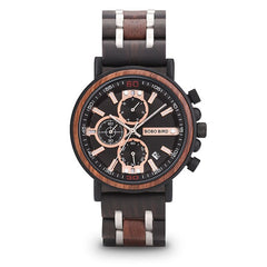 reloj hombre BOBO BIRD Wood Watch Men Top Brand Luxury Stylish Chronograph Military Watches Christmas Gift for Him Dropshipping - Slabiti