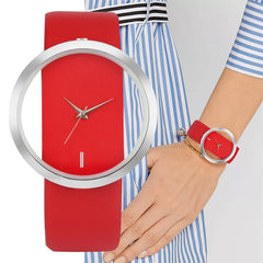 Lady Watches Fashion Red/White/Black Quartz Leather Women's Wristwatch Simple Hollow Display Women's Watches - Slabiti