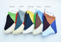 A E SHON Mens Soft Socks Fashion Contrast Colorful Mens Socks - Slabiti