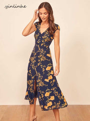 yinlinhe Navy Floral Summer Dress Short Sleeve Elegant Split Long Dress Women Slim Sexy Backless Transparent Party Vestidos 1421 - Slabiti