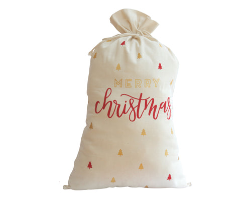 Merry Christmas Red & Gold Trees Santa Bag / Sacks