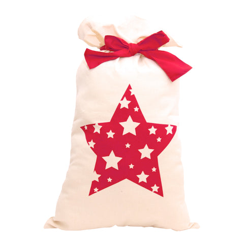 Red Star with a Bow Santa Bag/ Sack