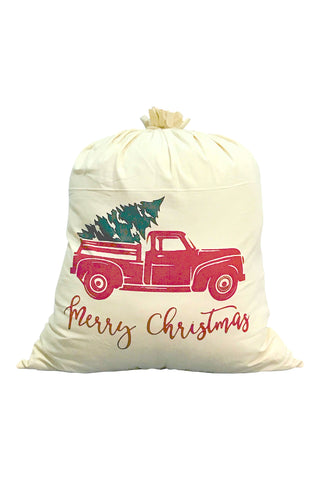 Merry Christmas Barn Truck Large Santa Bag