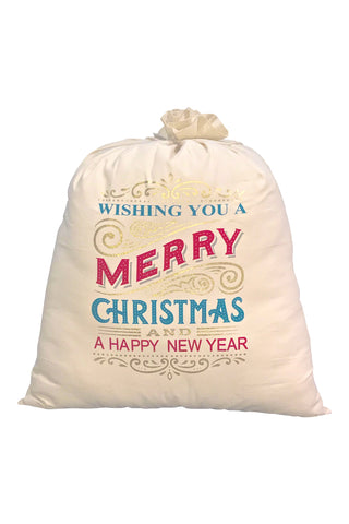 Merry Christmas & a Happy New Year Large Santa Bag