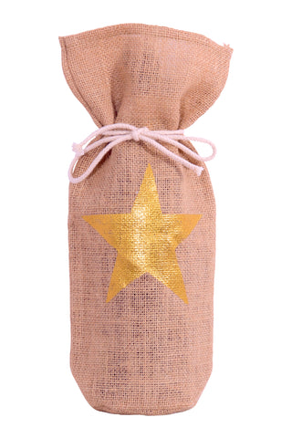 Gold Star Christmas Wine Bag