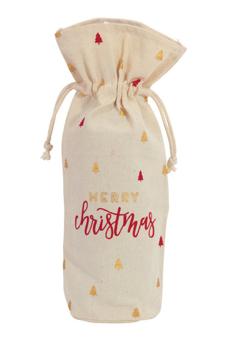 Merry Christmas Red & Gold Wine Bag