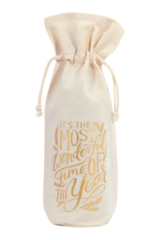 Its's The Most Wonderful Time Of The Year Christmas Wine Bag