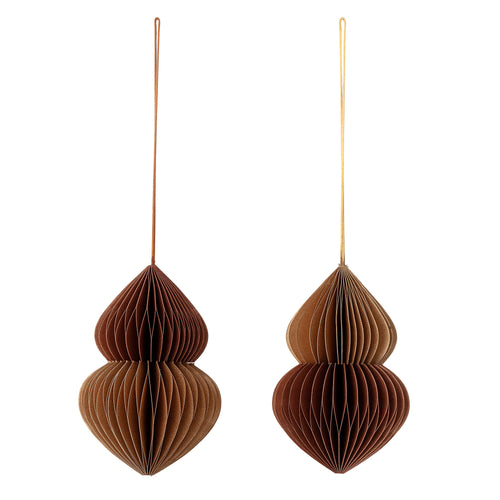 Bloomingville Pack of 2 Brown Paper Decorations