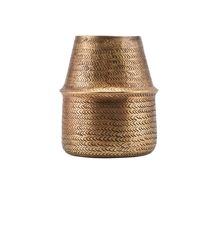 House Doctor Rattan Brass Finish Planter
