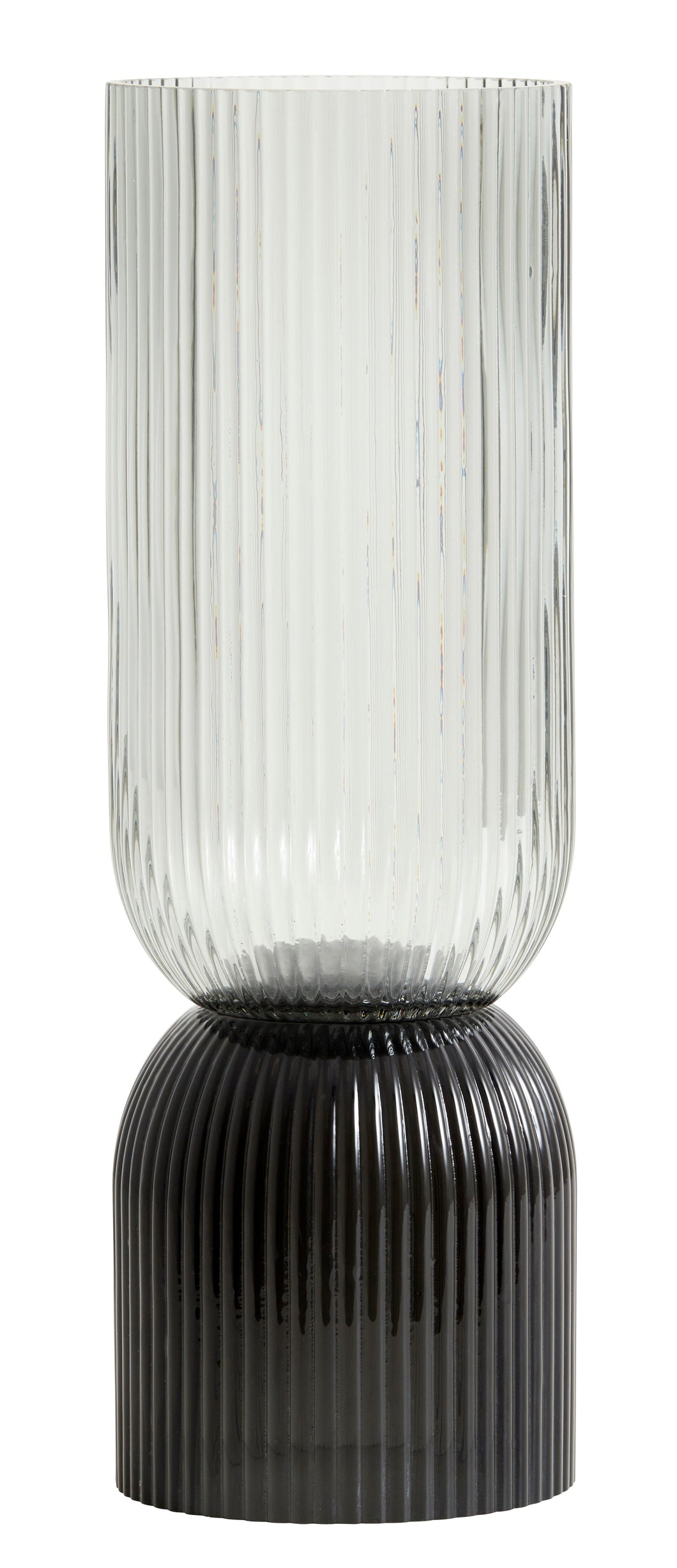 PRE ORDER - MID MAY DELIVERY Nordal Riva Black & Grey Glass Vase / Candleholder