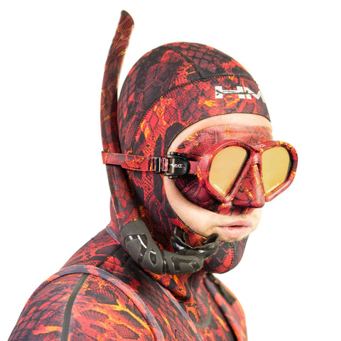 HUNTMASTER  Harbinger Camo Diving Mask and Snorkel Set - (Red)