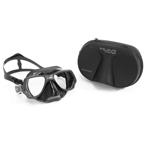 HuntMaster Low Volume Diving Mask Black Fish (Magura) - With Complimentary Black Container