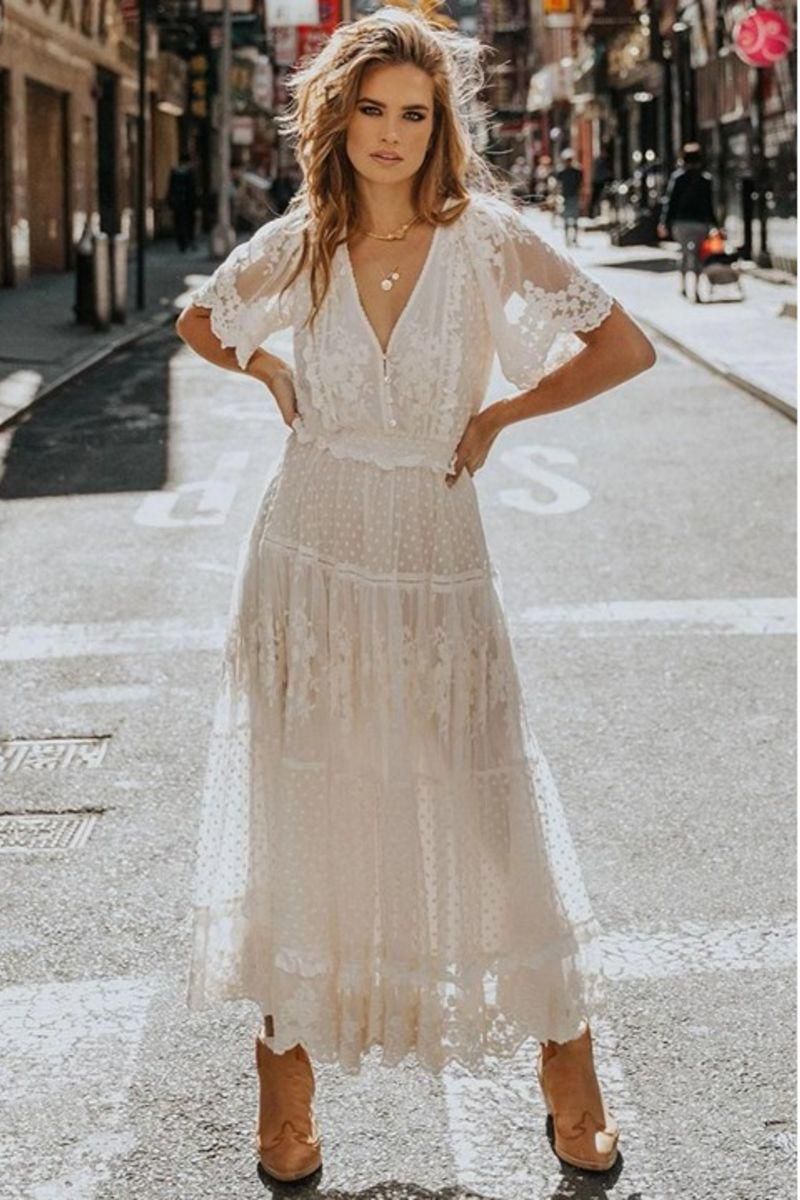 Juliet Lace V Neck Maxi Dress