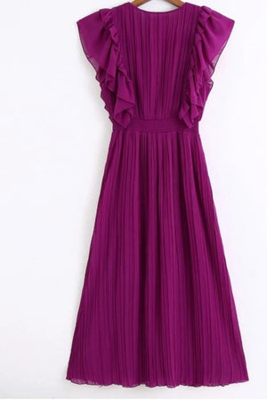 Zoella Royal Purple Chiffon Pleated Dress