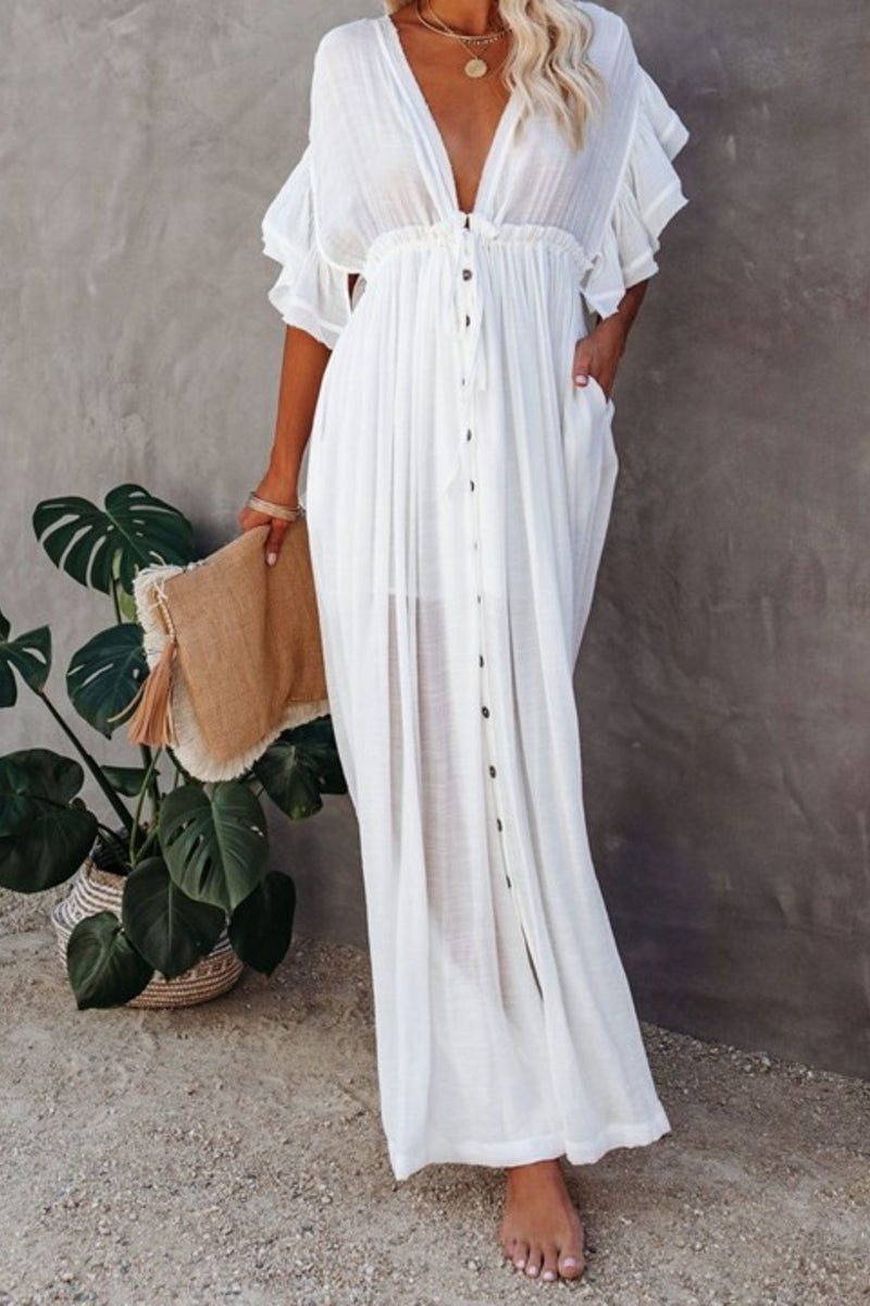 Rae White Summer Beach Dress Kimono