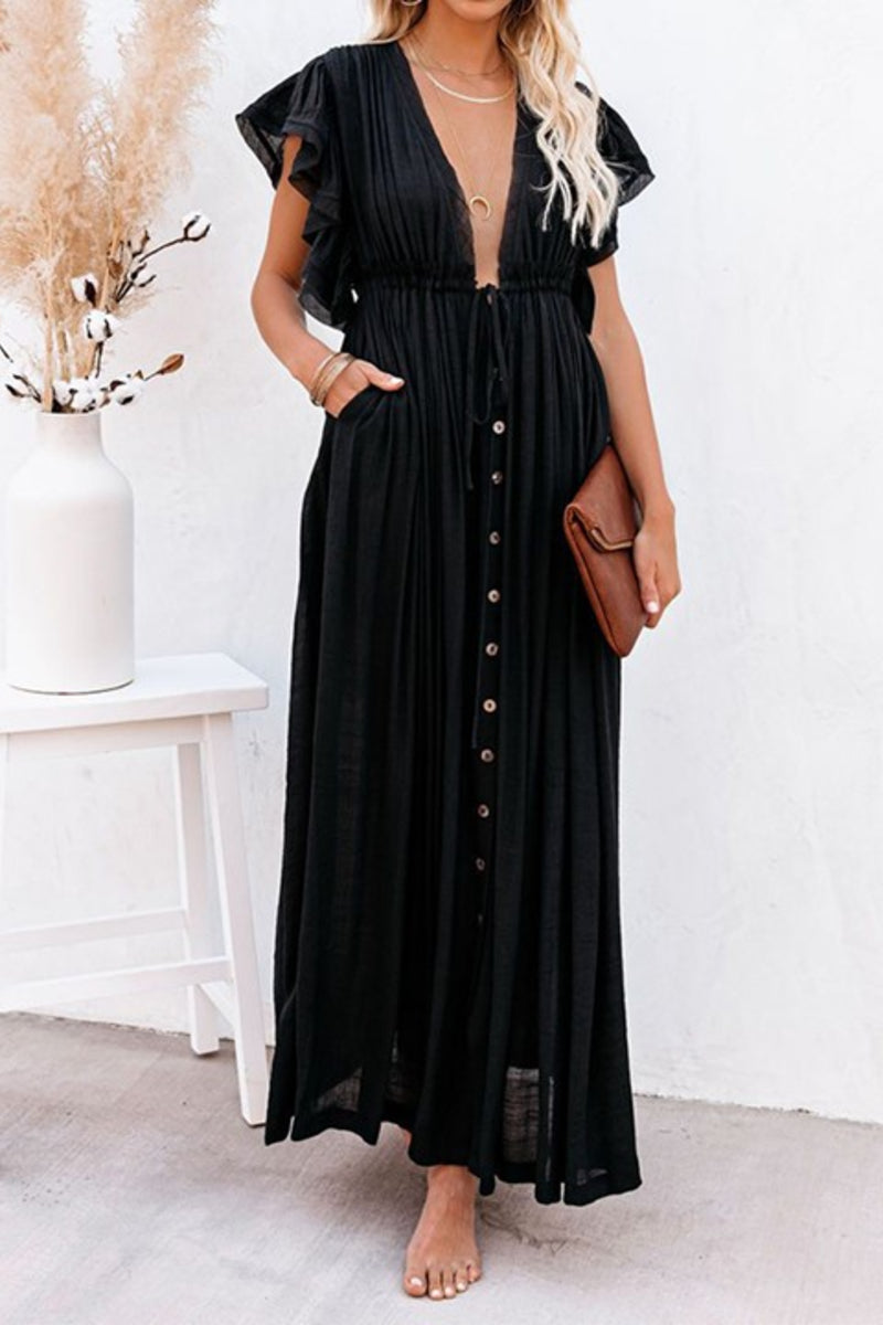Rae Black Summer Beach Dress Kimono