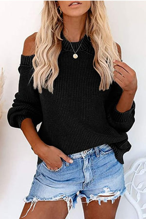 I'ts Chilly Baby Cut Out Sweater Black