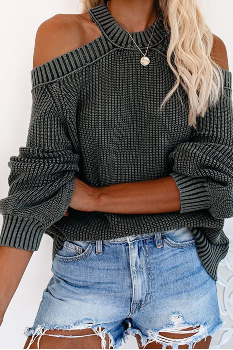 I'ts Chilly Baby Cut Out Sweater Charcoal