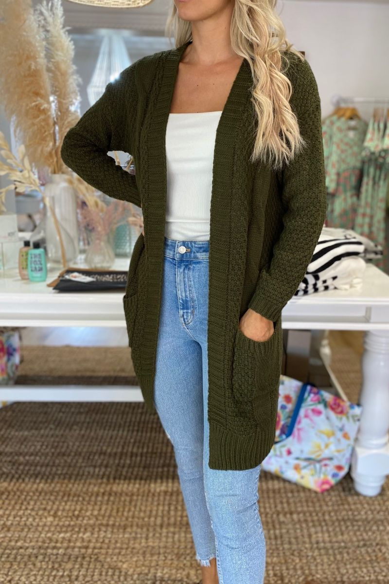 Olive Green Pocketed Rib Knit Cardigan
