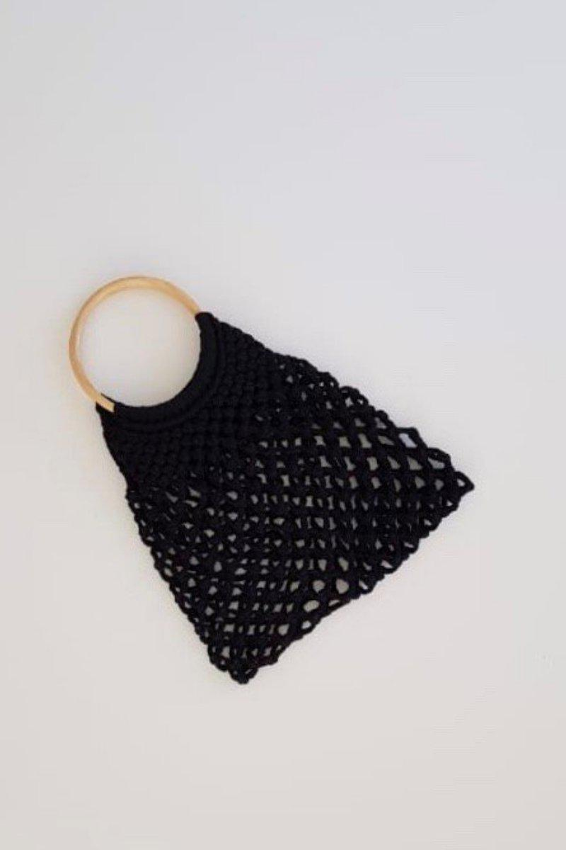 Lined Hollow Straw Shoulder Bag Black