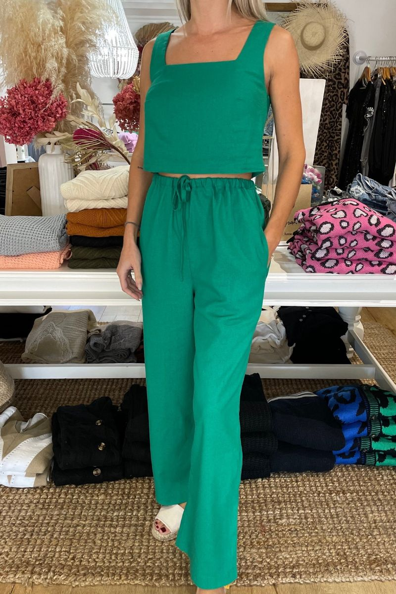 HS Loungewear Boho Set In Spring Green