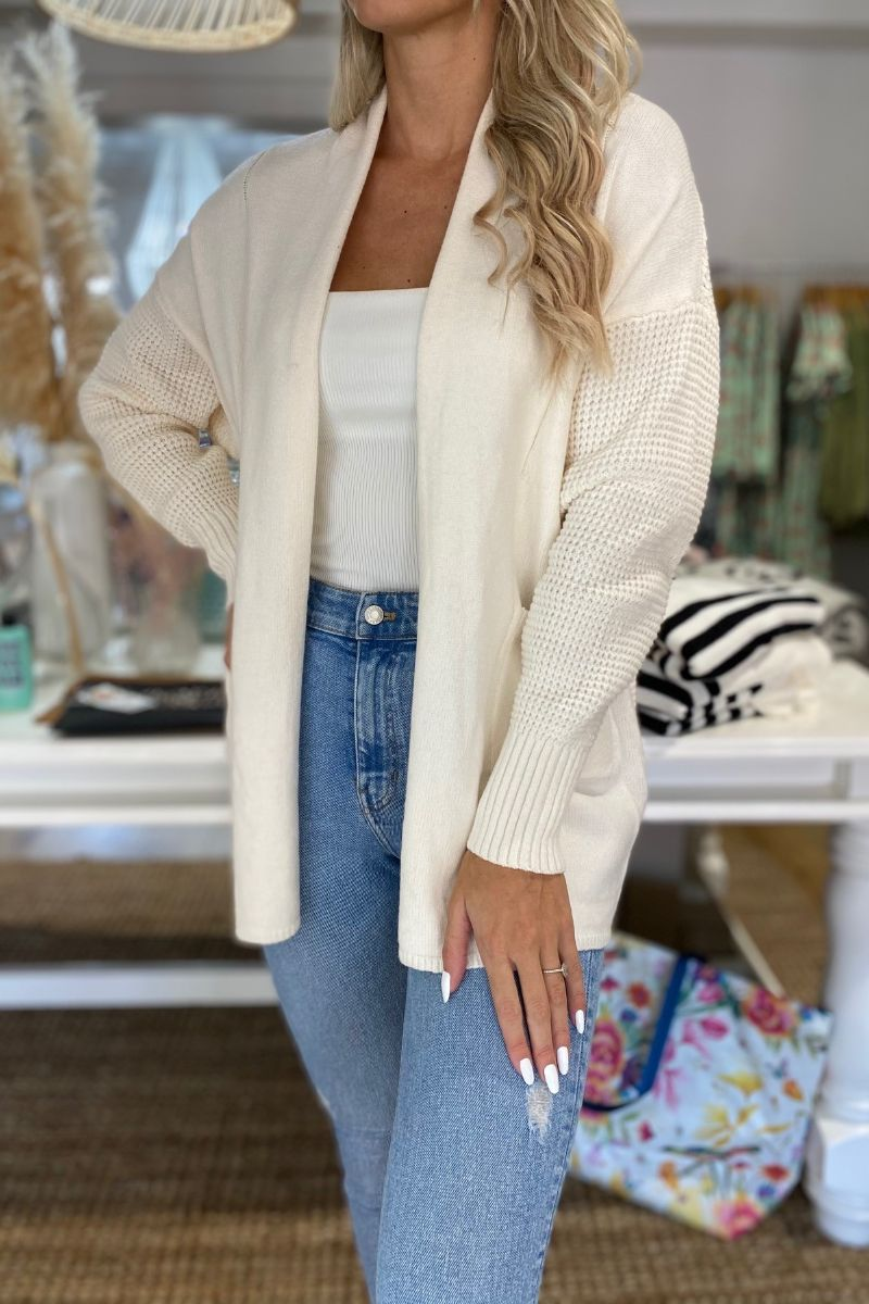 Ivory Pocketed Knit Cardigan