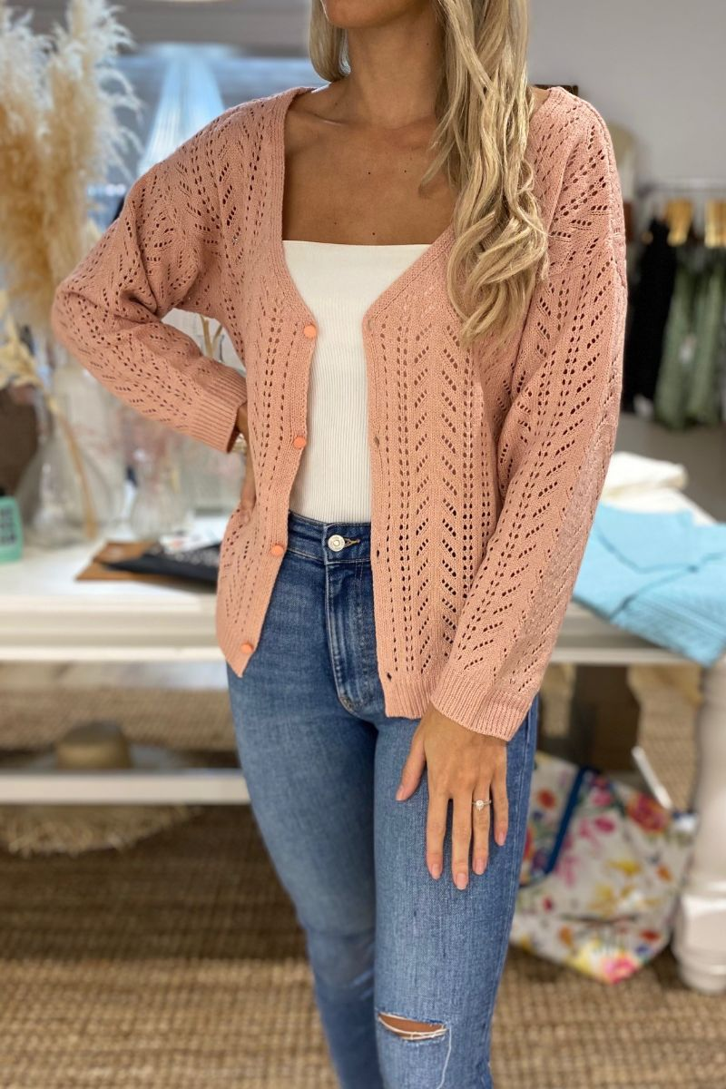Larson Cut Out Cardigan Pink