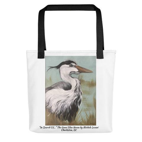 "Tote bag  ""In Search Of..."" The Great Blue Heron by Michele Levani Charleston, SC - Michele Levani Studio"
