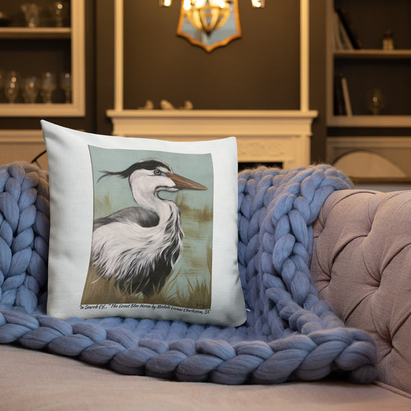 "Pillow  ""In Search Of..."" The Great Blue Heron by Michele Levani Charleston, SC - Michele Levani Studio"