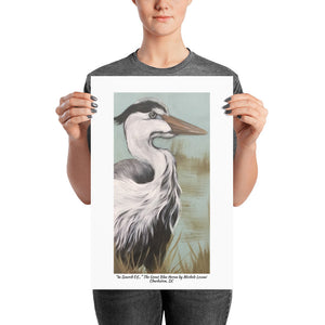 "Poster Print ""In Search Of..."" The Great Blue Heron by Michele Levani Charleston, SC - Michele Levani Studio"
