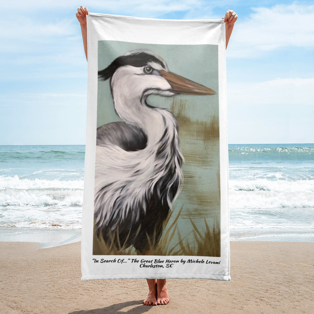 "Towel ""In Search Of..."" The Great Blue Heron by Michele Levani Charleston, SC - Michele Levani Studio"