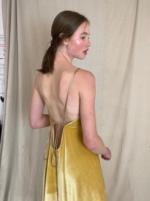 Anderst Isabel Velvet Halter Dress - Yellow