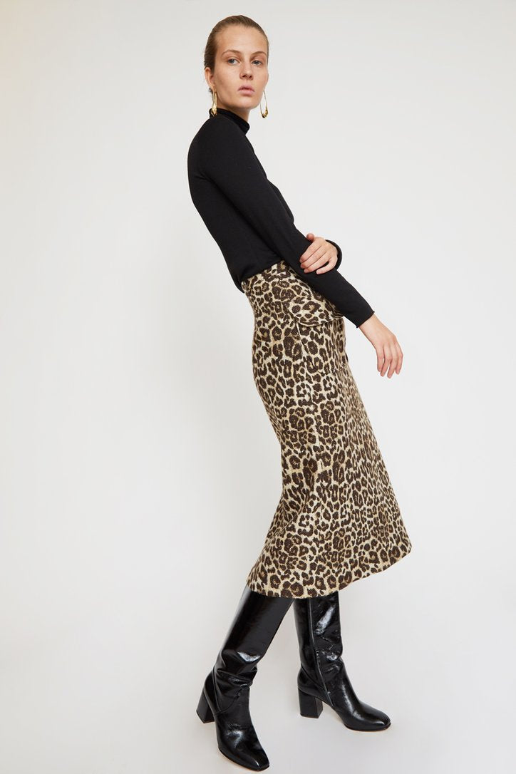 No. 6 Sylvia Skirt in Leopard Chenile
