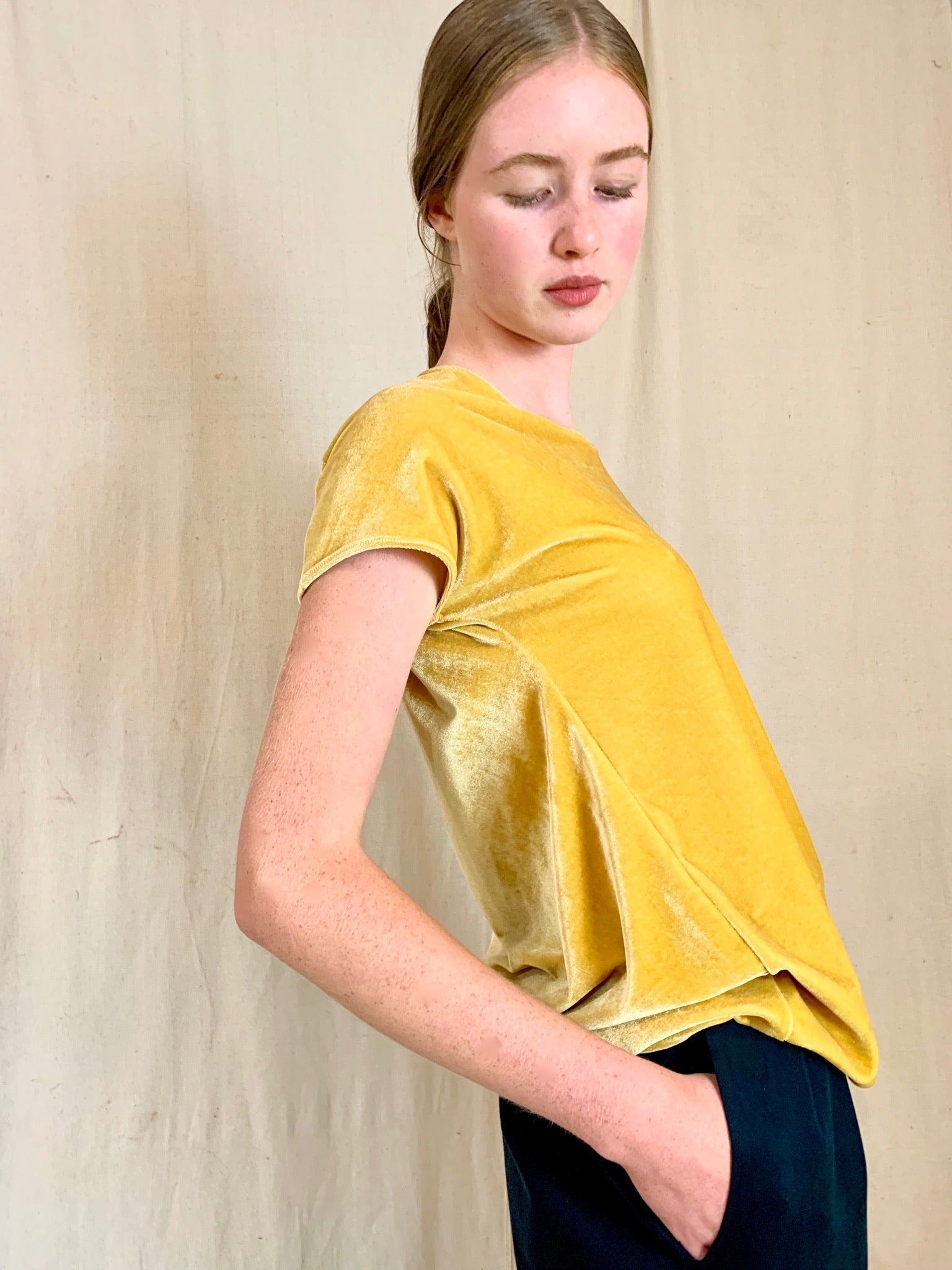 Anderst Dita asymmetric Open Back Top in Yellow velvet