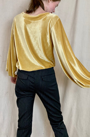 Anderst Maya Velvet Balloon Sleeve Top - Yellow