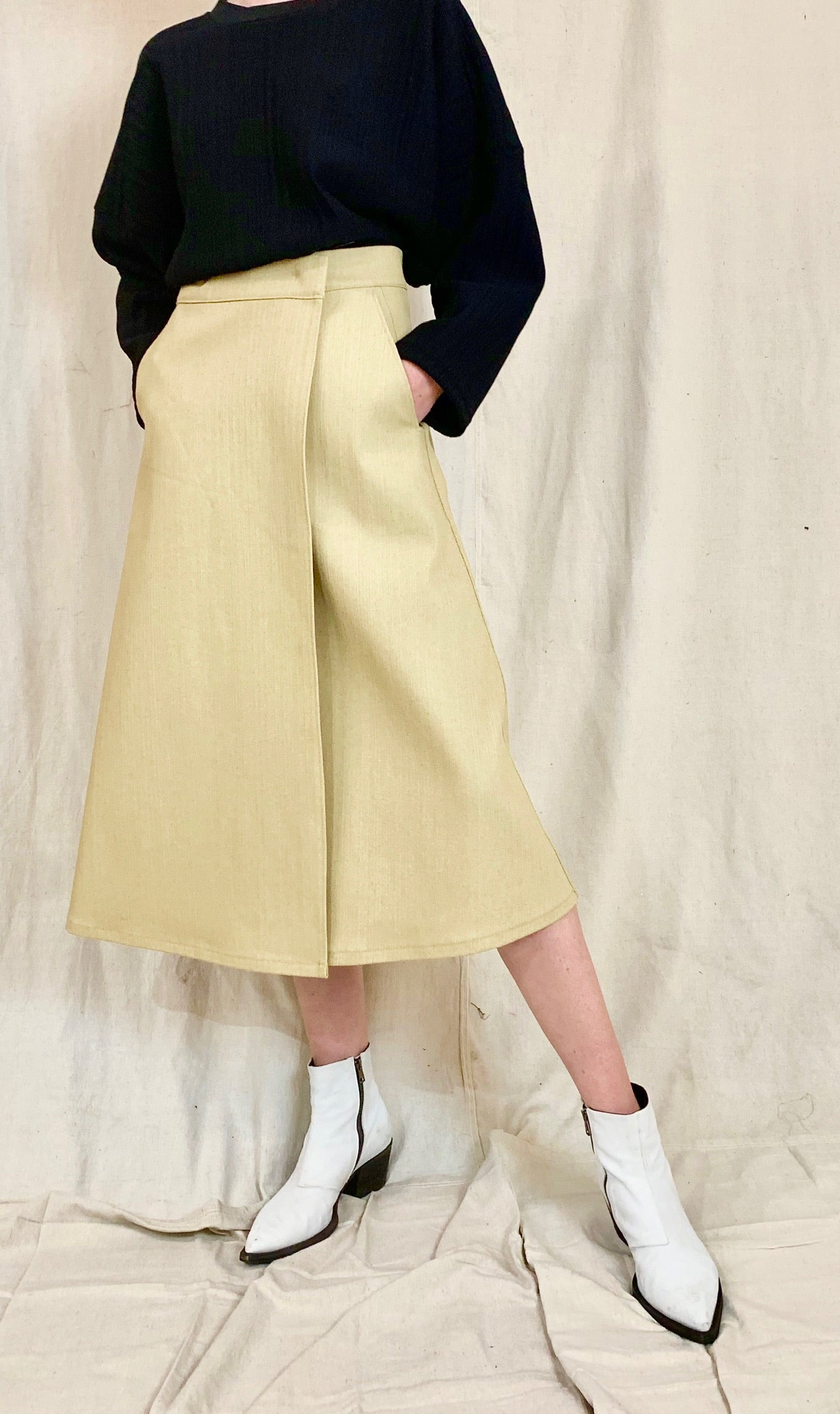Anderst Denim Wrap Skirt in sand