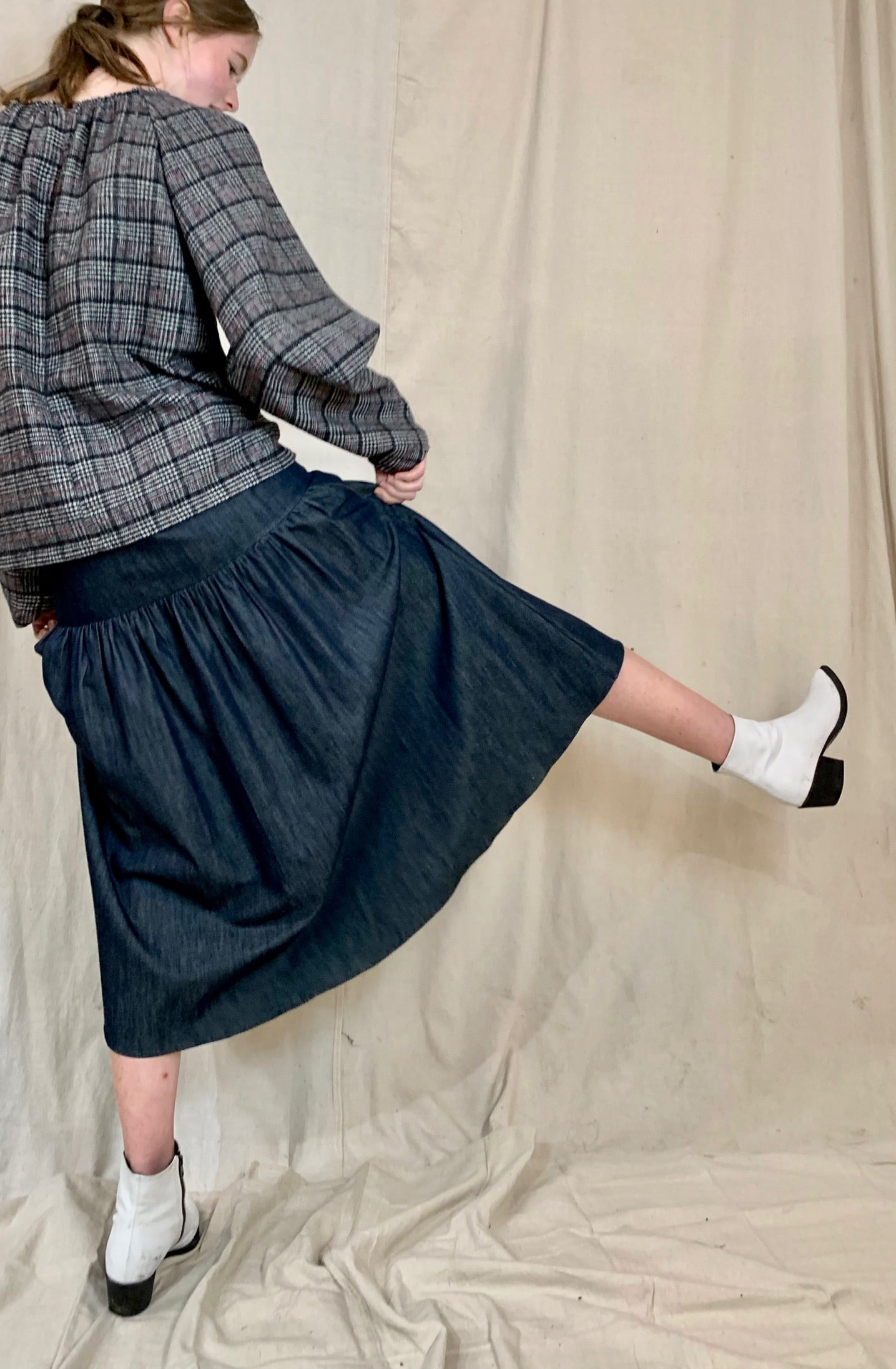 Anderst Simon Button Skirt in Denim