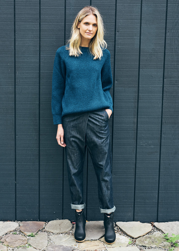 Chiara Fold Over Pants in Denim