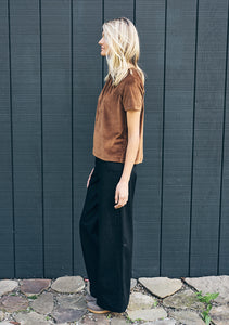 Emma Raglan Top in tobacco velvet