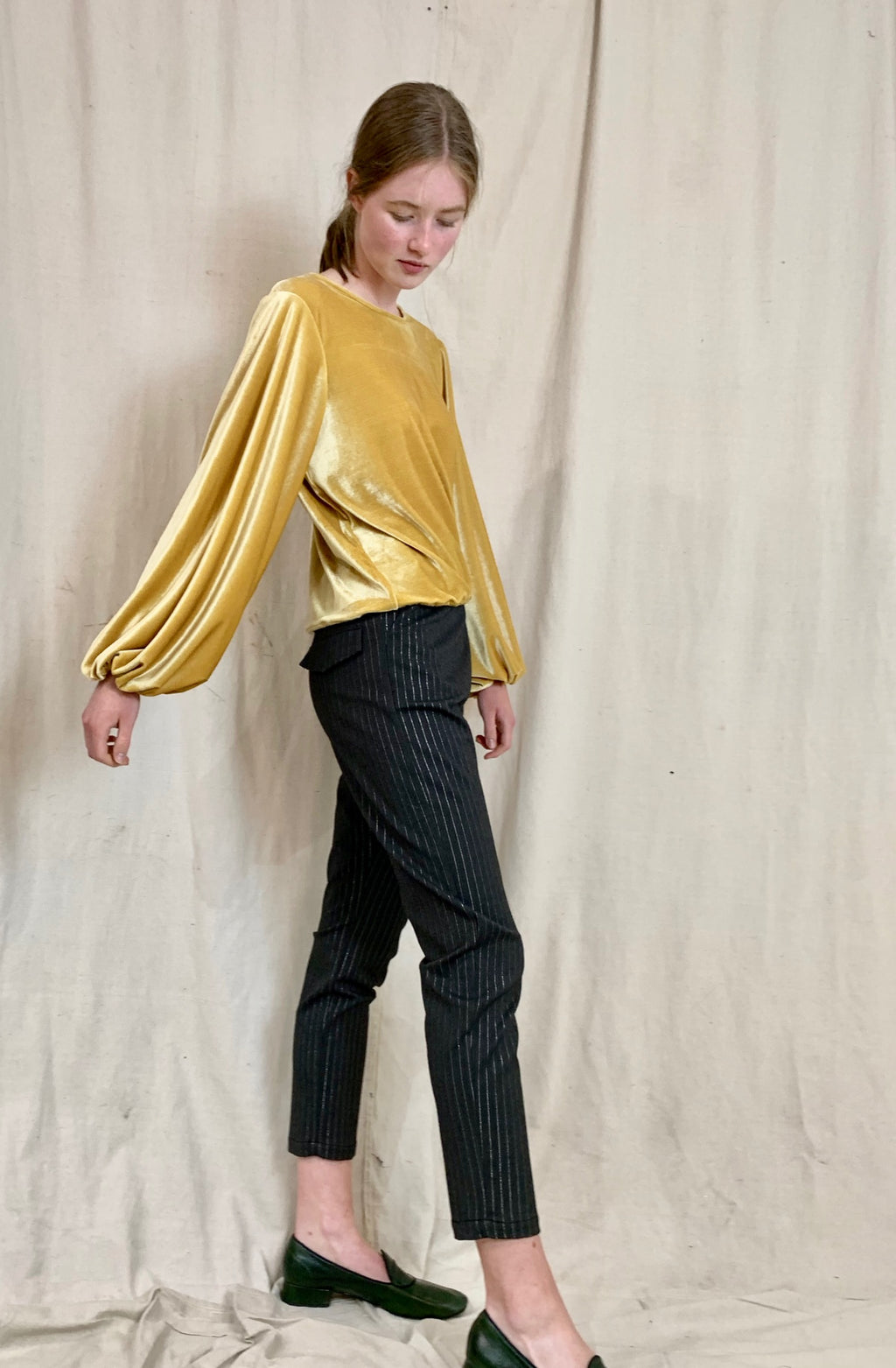 Anderst Velvet Balloon Sleeve Top - Yellow