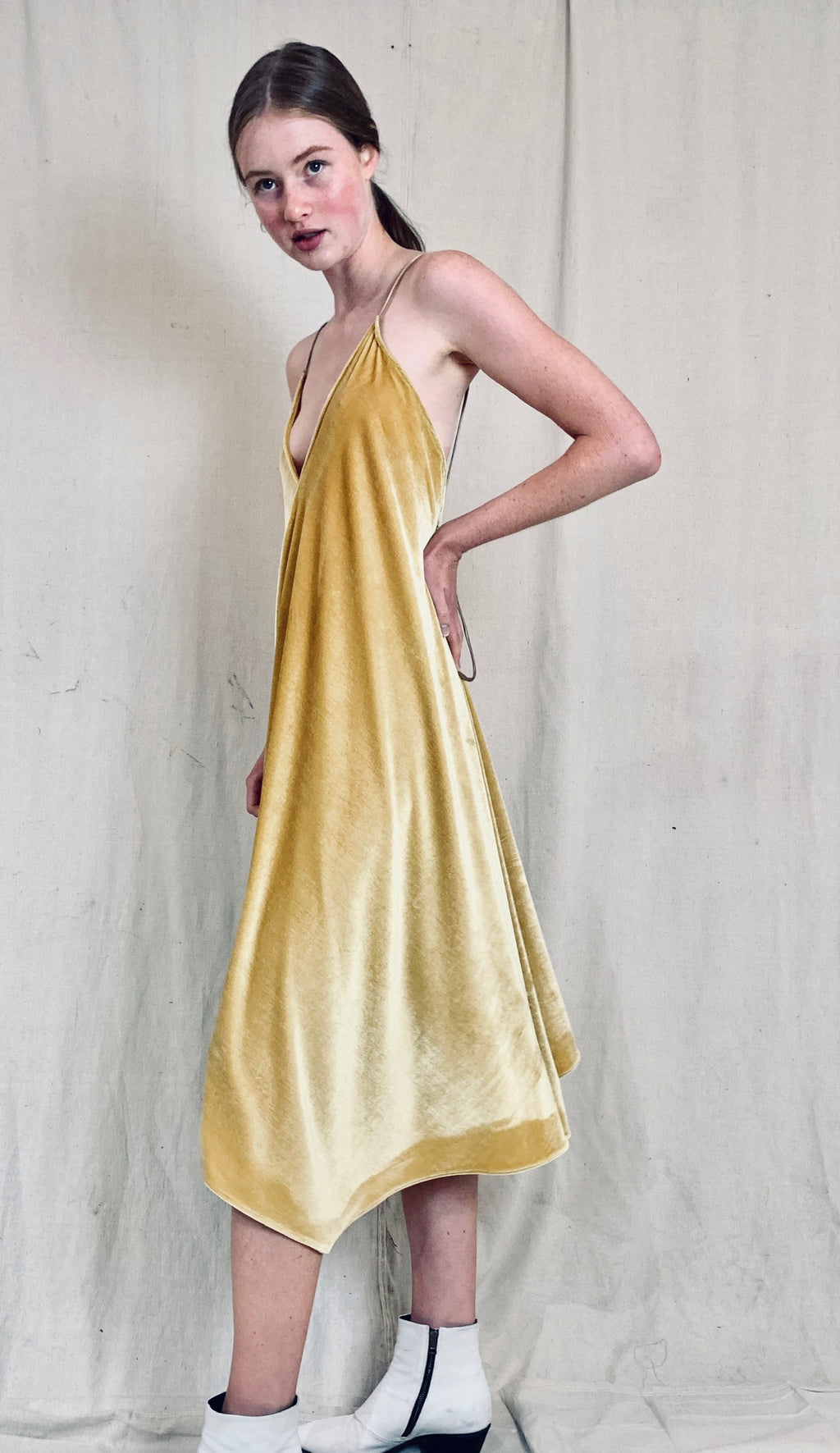 Anderst Velvet Halter Dress - Yellow
