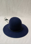 Brookes Boswell Suncrest Navy Wool Felt Hat , Split Suede Drawstring