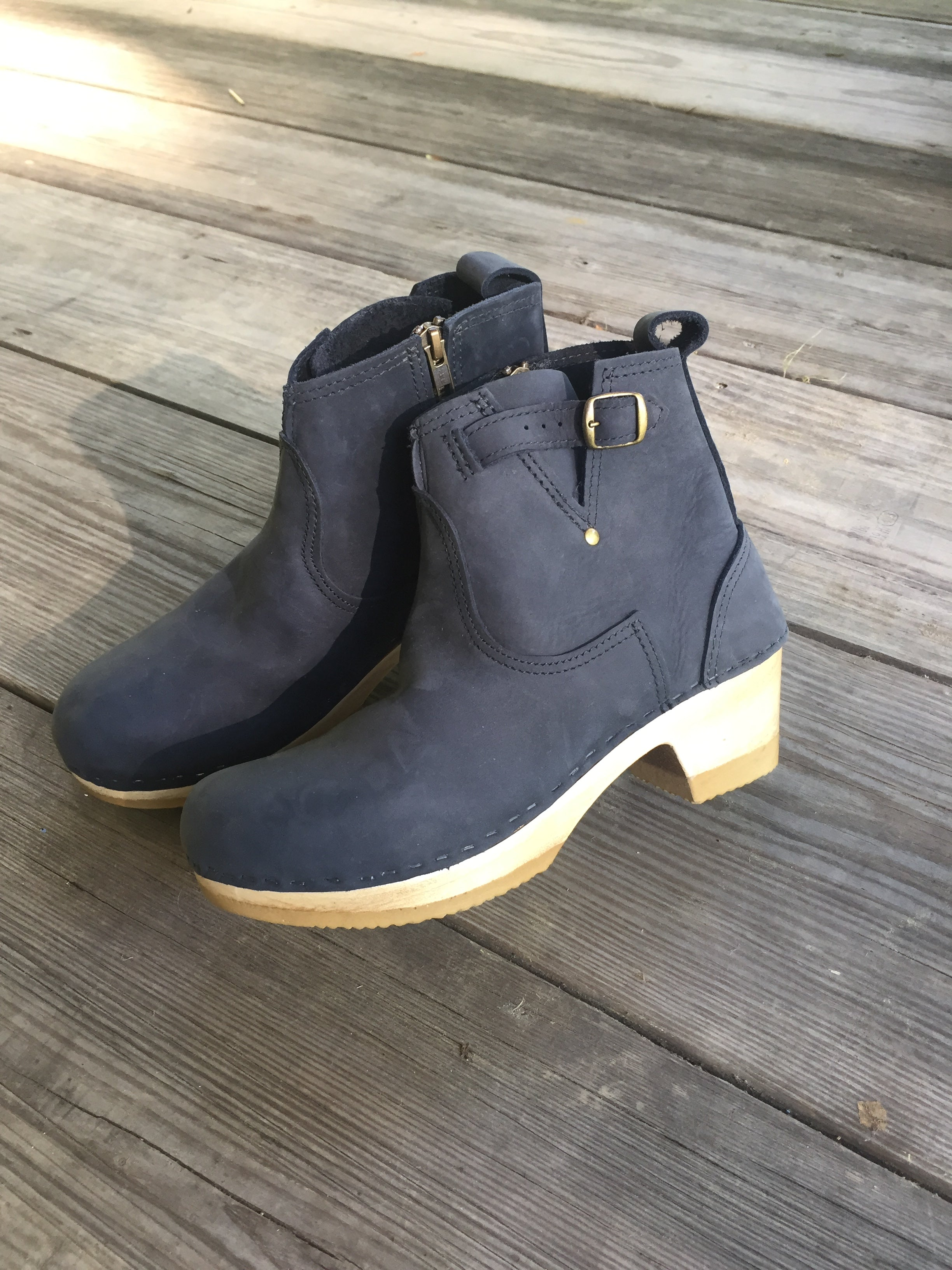 "No.6 5"" Leather Buckle Boot Mid Heel in Navy"